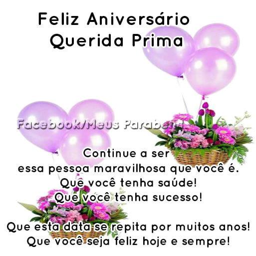 Mensagem De Feliz Aniversário Para Prima Para Whatsapp E Facebook