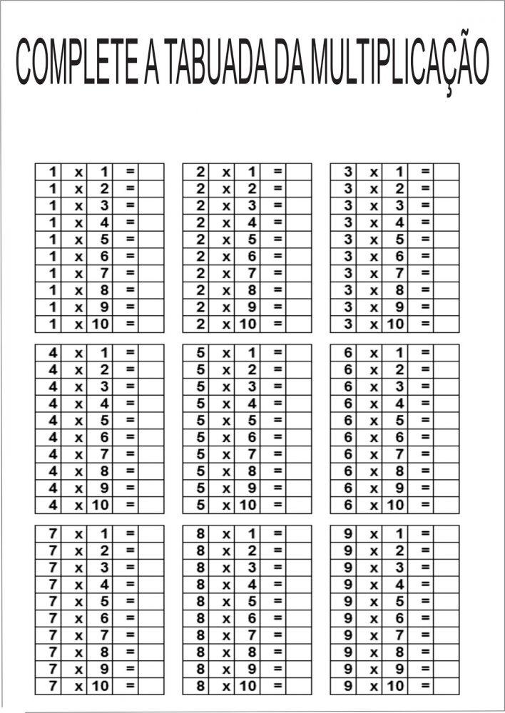 Tabuada De Multiplicacao Do 0 Ao 9 Para Imprimir Mensagens E