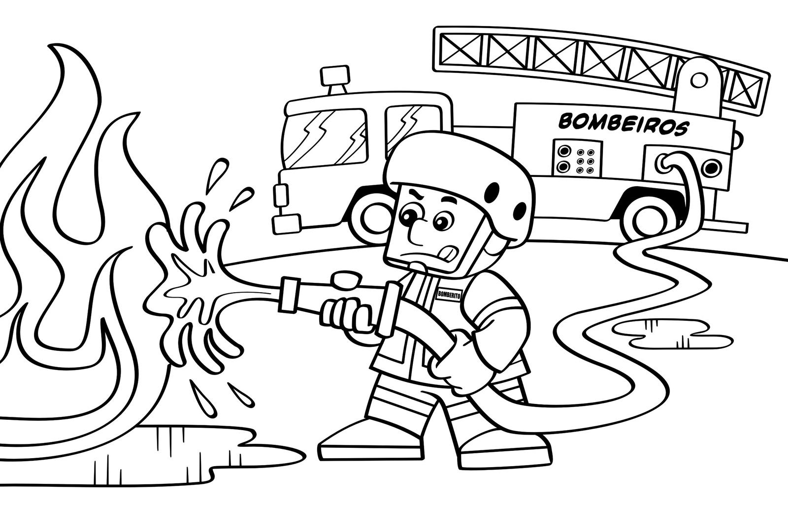Desenhos De Bombeiro Para Colorir E Imprimir Mensagens E Atividades