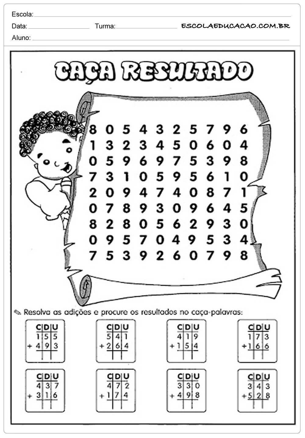 Atividades De Matematica 3 Ano Fundamental Para Imprimir